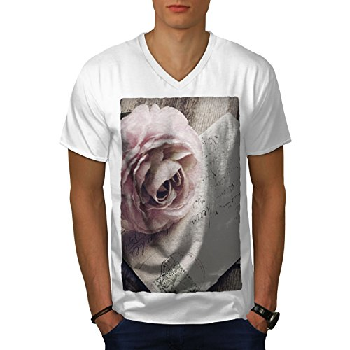 wellcoda Letter Retro Rose Mens V-Neck T-Shirt, Vintage Graphic Print Tee White M ()