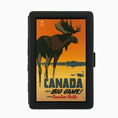 Perfection In Style Black Color Metal Cigarette Case D-052 Travel Canada for Big Game
