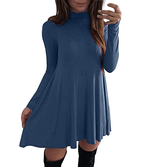 Buy aliveGOT Women'S Solid Long Sleeve Turtleneck Casual