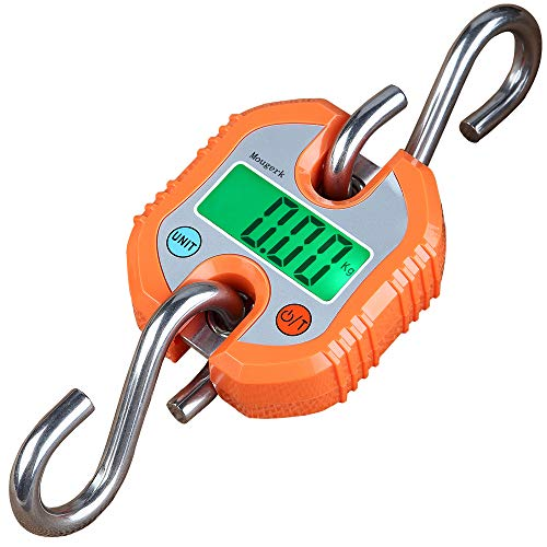 Mougerk Digital Hanging Scales Portable Heavy Duty Crane Scale 150 kg 300 lb 2 AAA Batteries(Not Included) (Orange) (Digital Scales Hanging)
