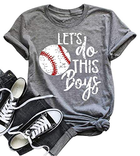 (DUDUVIE Women Let's Do This Boy Baseball Mom Tshirt Casual Letter Print Tops)