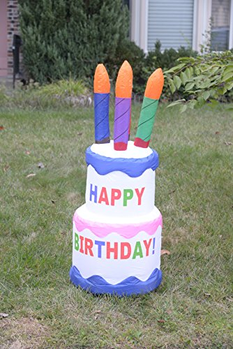 Strange Occasional Lighted Airblown Inflatable Happy Birthday Cake 4Ft Personalised Birthday Cards Bromeletsinfo