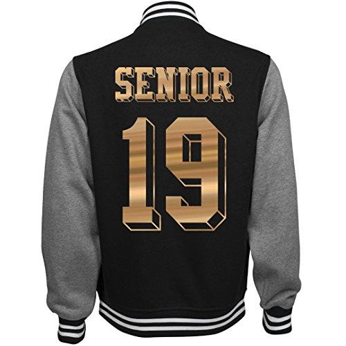 Customized Girl Metallic Senior Jacket 2019: Unisex Fleece Letterman Varsity Jacket