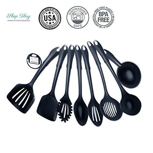 Kitchen Utensil Set Made in USA, 8 Best Kitchen Utensils - Nonstick Cooking Spatula,NYLON Kit, Solid Turner, Slotted Turner, Slotted Spoon, Basting Spoon, Strainer, Spoon Rest, Ladle, Pasta Server