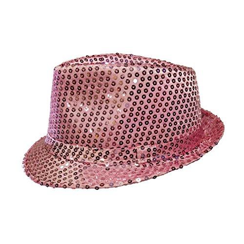 Pink Hat Fedora (Forum Novelties, 65952 Costume Sequin Fedora Hat, Pink One Size)