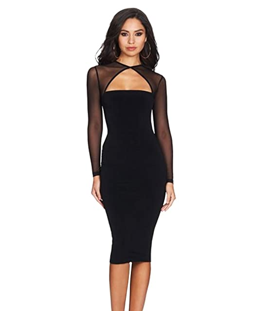 439aeaca793e LvRao Donna Manica Lunga Cut out Midi Vestito a Bodycon See-Through Mesh  Stitching Abito