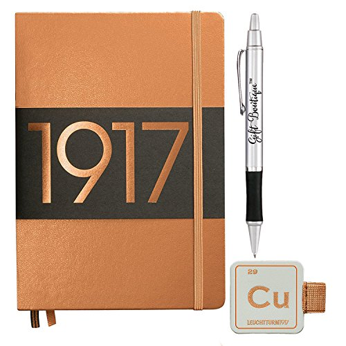 Leuchtturm1917 Medium Size A5 Hardcover Metallic Copper Notebook - Dotted Pages with Leuchtturm1917 Self-Adhesive Pen Loop and Gift Boutique Pen