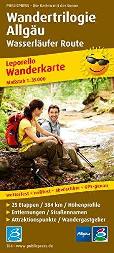 Wandertrilogie Allgäu - Wasserläufer: Wanderkarte mit Ausflugszielen, Einkehr- & Freizeittipps, wetterfest, reißfest, abwischbar, GPS-genau. 1:35000 (Leporello Wanderkarte / LEP-WK)