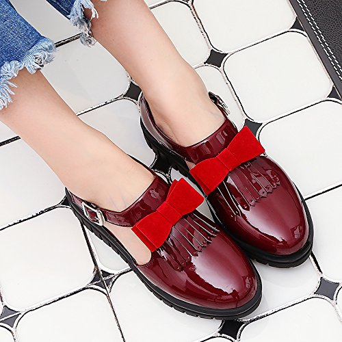 Show Shine Womens Cute Bows Buckles Tassels Oxfords Shoes Red W6xNxNdN