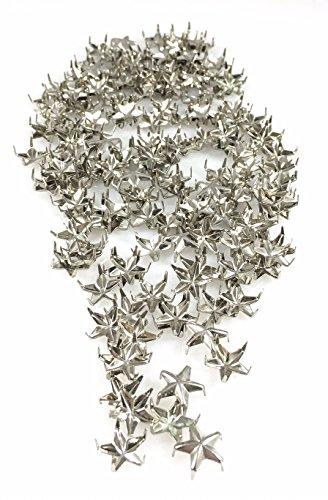 Nailheads - Spots - Studs - 100 pcs 40ss (8mm) Star Nailheads Silver- Silver Star Studs - Premium Quality Brass Nailheads