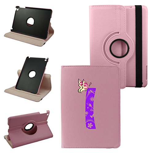 Mini iPad Letter I Cover Synthetic Leather Rotating Ipad Case: 360 Degrees Multi-angle Vertical and Horizontal Stand with Strap (I-Pink)
