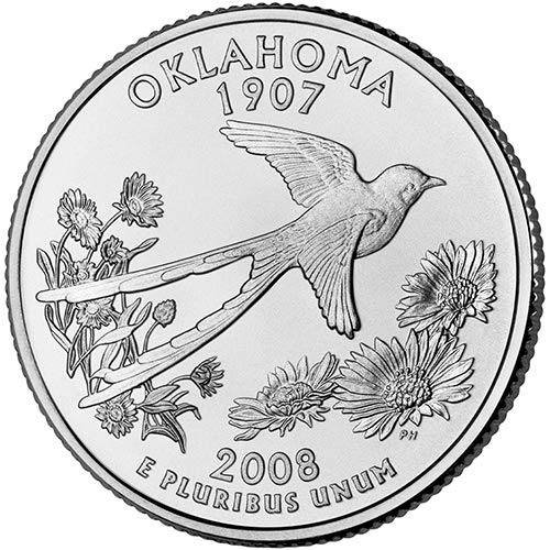 2008 S Silver Proof Oklahoma State Quarter Choice Uncirculated US Mint