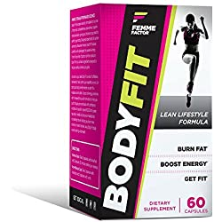 Body Fit Fat Burner for Women with Garcinia, Metabolism Booster, Calorie Burner, Appetite Suppressant, & Energy Weight Loss Pills, Femme Factor, 60ct
