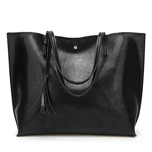 Forestfish Leather Women Tote Bag Handbags Satchel Bags for Work Travel(Black) by Forestfish
