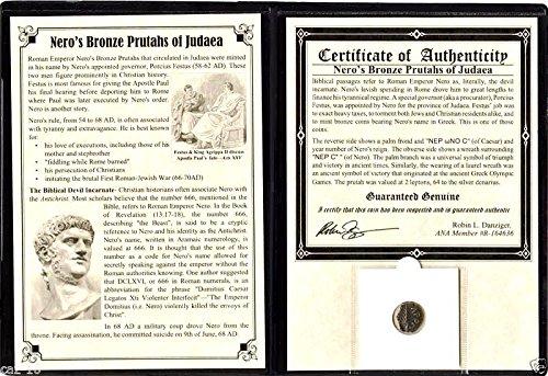 50 NP Nero Roman Emperor Nero's Bronze Prutah Coin by Festus,Album, Story & Certificate. 20mm Very Good