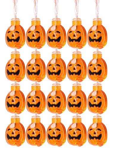 Mini Skater Halloween-Themed PP, Pumpkin Lights Series ,Waterproof ,Grand Ball to Celebrate, 20 Led Lantern/String (Pumpkin String lights)