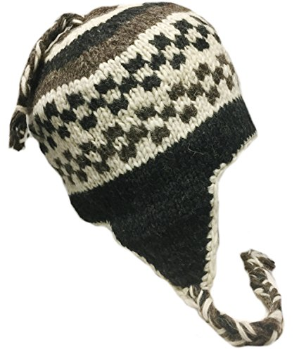 f56cf9fde Nepal Hand Knit Sherpa Hat, Ear Flaps, Trapper Ski Wool Fleeced Lined  (White/Brown/)