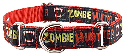 Country Brook Design Zombie Hunter Grosgrain Ribbon Martingale Dog Collar - Large