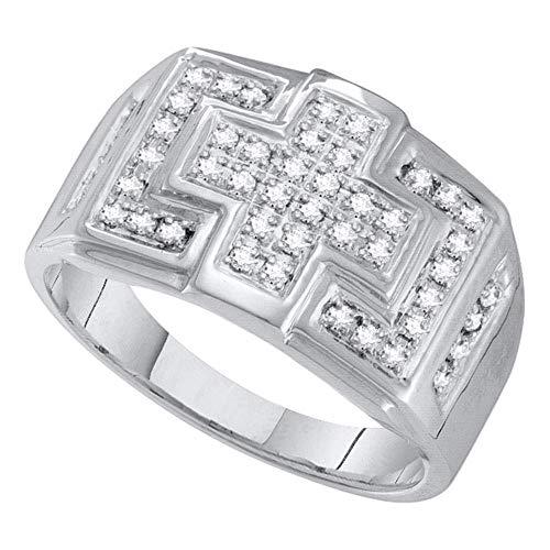 - 10kt White Gold Mens Round Diamond Square Cross Cluster Ring 1/3 Cttw