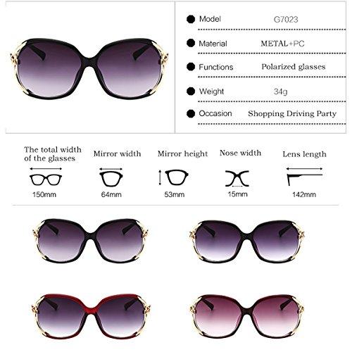 frame para 400 Big diseñador Fashion sol UV polarizadas de para Classic de glasses mujer 100 protection Gafas Ladies Color conducir Marrón viajar Rojo Gafas vacaciones Pcq4CpOnH