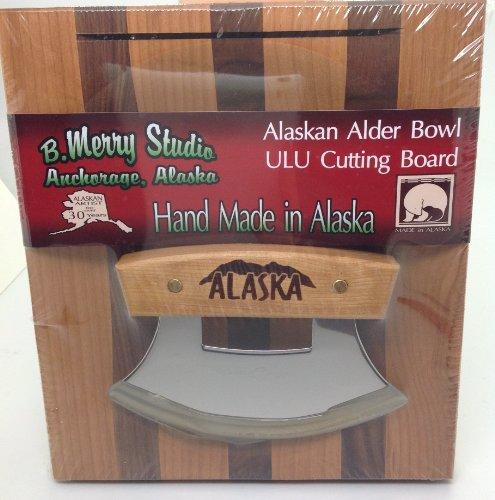 - Made in Alaska Ulu Birch / Walnut Stripe Chopping Bowl Set Ulu Knife