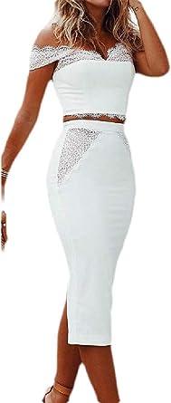 BingSai - Conjunto de 2 Piezas de Falda de Encaje para Mujer ...