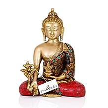 CraftVatika Large Medicine Buddha Brass Statue | Decorative Buddhism Metal Tibetan Feng Shui Healing Sculpture