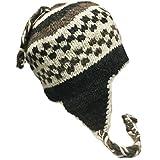 Nepal Hand Knit Sherpa Hat, Ear Flaps, Trapper Ski Heavy Wool Fleeced Lined (Grey/White/Brown)