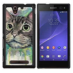 LECELL--Funda protectora / Cubierta / Piel For Sony Xperia C3 -- Pintura del gato feliz --