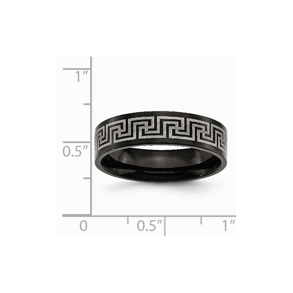 Titanium Black IP-plated Greek Key Laser Etched 6mm Brushed Wedding Band Ideal Gifts For Women