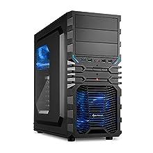 """Sharkoon VG4-W - Caja de ordenador gaming (semitorre ATX, iluminación y lacado interior AZUL, lateral acrílico, incluye 2 ventiladores LED, 3 bahías de 5,25""""), negro"""