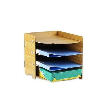 Archivadores con Espiral Gabinete para Archivos de sobremesa Madera A4 Papel de 4 Capas Material Promocional Barra de Archivos para Oficina de Escritorio ...