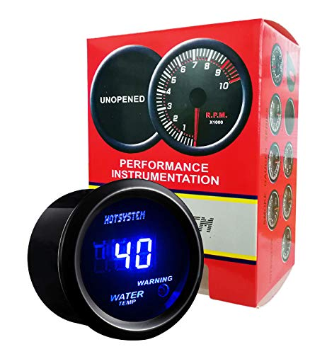 HOTSYSTEM Universal Water Temp Gauge Temperature Meter Blue Digital LED DC12V 2inches 52mm for Car Automotive(Celsius) ()