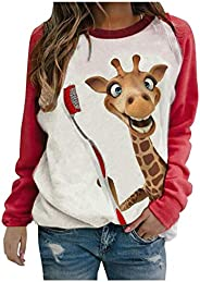 Women's Funny Animal Printed T Shirts Casual Long Sleeve Color Block Pullover Tops Summer Loose Raglan Swe