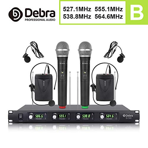 Debra Audio D-140 UHF 4 Channel Wireless Microphone System Metal Receiver With 4 Mics Use for Stage,Church, Family Party, Church, Small Karaoke Night (2 Handheld & 2 Lavalier & headset (B Frequency))