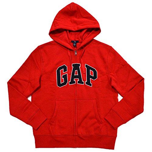 GAP Mens Fleece Arch Logo Full Zip Hoodie (Large, True Red) ()