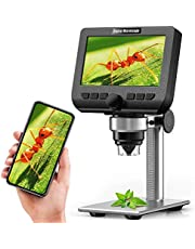 LCD Digital Microscope, YINAMA 4.3 Inch HD 1080P Wireless Microscope, 2 Megapixels USB Stereo Microscope Camera, with 50X-1000X Magnification, 1800mAh Battery and 8 Adjustable LED Light Video Camera Microscope with 32G TF Card