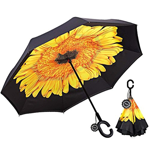 Double layer inverted umbrella.  Sunflower