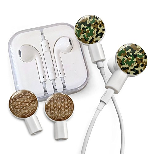 Deka Pack - dekaSlides Cell Phone Earbuds and Slide On Decal Graphics Combo Pack, Removable Earbud Decals, Forest Camo and Flower of Life