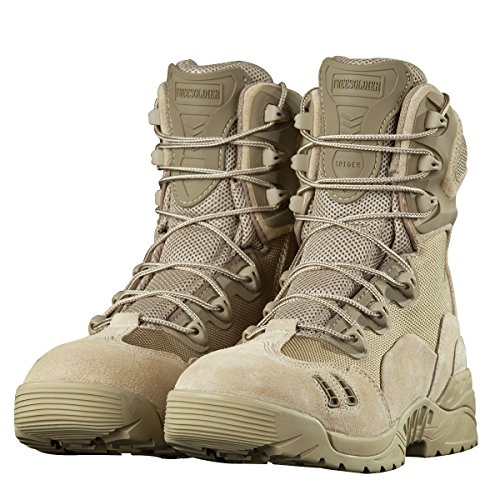 FREE SOLDIER Men Military Tactical Work Boot with Zipper Desert Tan Boots for Trail Trekking Outdoor(Tan 7)