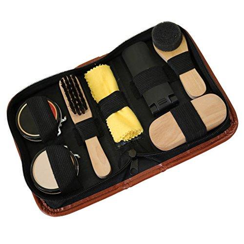 Sundlight 8 Piece Shoe Care Set,Travel Shoe Shine Brush kit for Leather Shoes,Purse,Hat,Belt by Sundlight (Image #1)