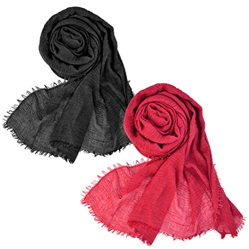 Wobe 2pcs Women Soft Cotton Hemp Scarf Shawl Long Scarves, Travel Sunscreen Pashmina Fancy Stylish Hijab Scarf Lightweight Warm Big Head Scarves Muslin Pure Color Black and Red