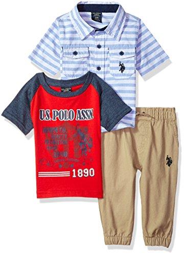 (U.S. Polo Assn. Baby Boys Short Sleeve, T-Shirt and Pant Set, Tonal Water Base Printed Multi Plaid, 12M)