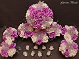 Lilac Lavender BEADED Flower Lily Wedding / Quincenarea Bouquet 16 PC Package with FREE Boutonnieres
