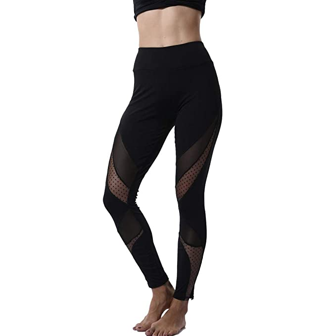 5bd85ef6873e6 CROSS1946 Sexy Women's High Waist Sexy Skinny Patchwork Thigh Mesh Yoga  Pants Leggings Soft Fitness Capris