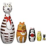 "Bits and Pieces - ""Cleo & Friends"" Nesting Cats-Hand Painted Wooden Nesting Dolls Matryoshka - Set of 5 Dolls From 7"" Tall with Gift Box"