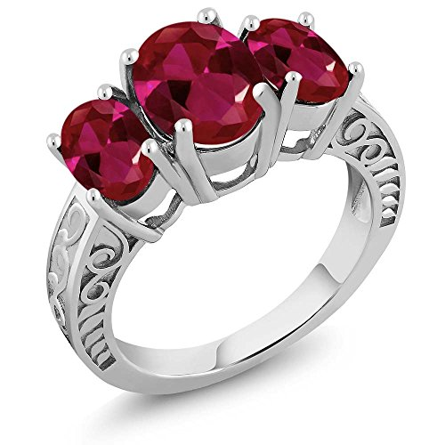 Gem Stone King 3.80 Ct Oval Red Created Ruby 925 Sterling Silver Ring (Size 7)