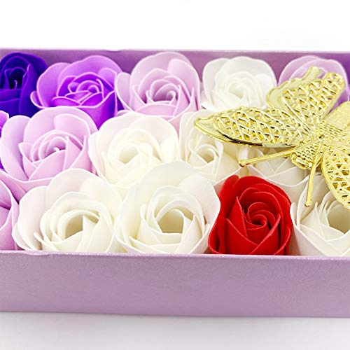 JIALEEY 33 PCS Floral Scented Bath Soap Rose Flower Petals, Plant Essential Oil Rose Soap Set Gifts for Girls Mom Her…