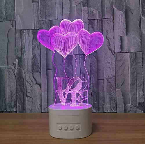 Acryl Nachtlicht 3D Nacht Lampe Indoor Nette Blautooth Speakerusb Musik Nachtlicht Nachttischlampe Lampara Mit Farbe Veränderbar Geschenk Liebe Licht Led Licht