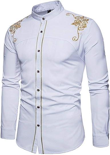Camisas De Los Hombres Slim Fit Bordado Vintage con Botones Camisa Fashion Cómodo Business Office Camisa De La Blusa De Manga Larga Blusas Tops: Amazon.es: Ropa y accesorios